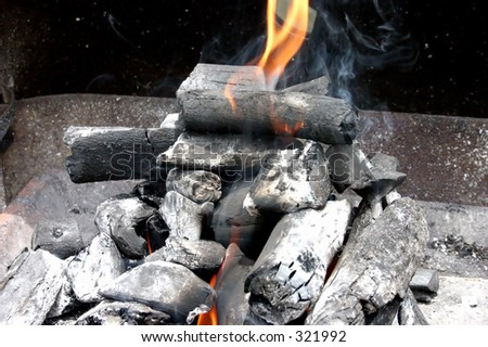 coal ready for a bbq - stock photo