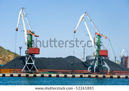 coal terminal at russian port Vladivostok - stock photo
