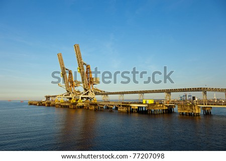 Coal terminal in the port of Gdansk, Poland. - stock photo