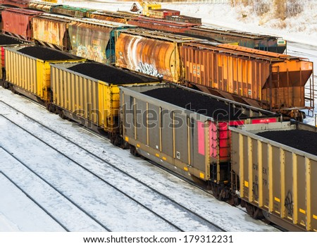 Coal train wagons - stock photo
