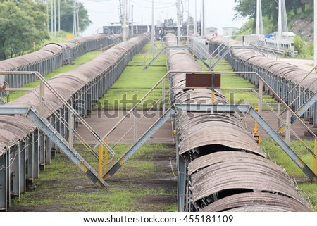 coal transportation for subsequent processing - stock photo