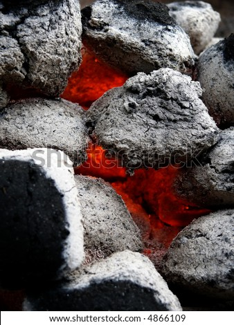 coals for a BBQ - stock photo