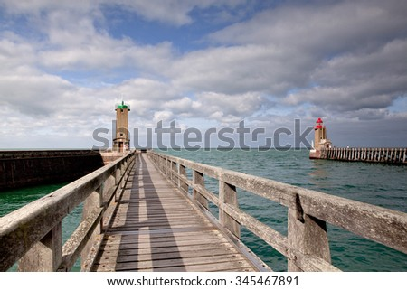 Coast and Lighthouse at Fecamp in Normandy France in  Autumn - stock photo