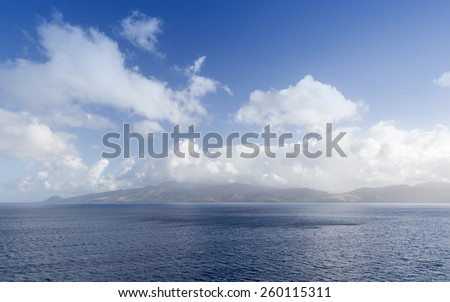Coast and ports of the Caribbean islands. - stock photo