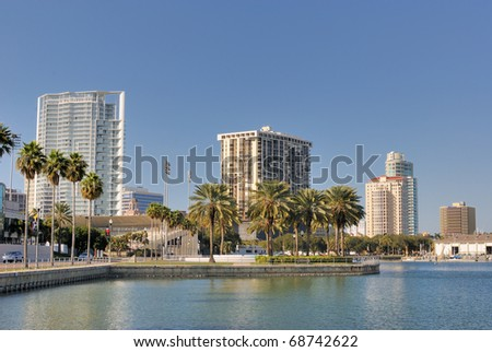 Coast and skyline of St. Petersburg, Florida. - stock photo