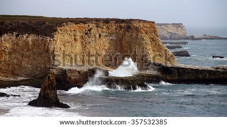 Coast at Monterey bay near Santa Cruz, California - stock photo