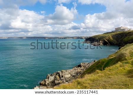 Coast at Newquay North Cornwall England UK - stock photo