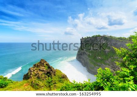 Coast at Uluwatu temple, Bali, Indonesia. - stock photo