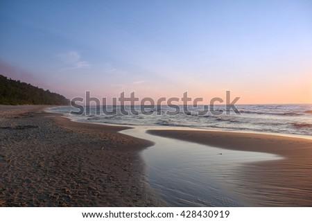 Coast Baltic Sea - Sunset - stock photo