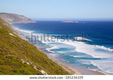 Coast below Albany Wind Farm, near the town of Albany in Western Australia. - stock photo