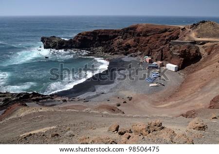 Coast fishing bay in El Golfo, Lanzarote - stock photo
