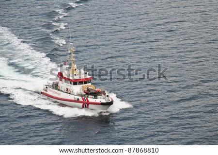 Coast Guard Boat in Norway - stock photo