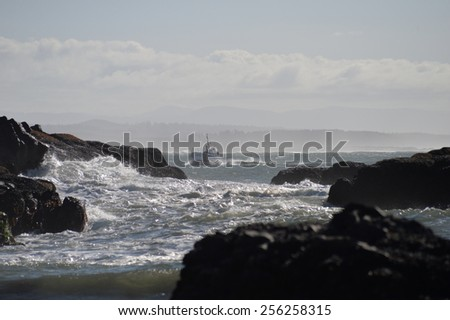 Coast Guard cutter in the surf - stock photo