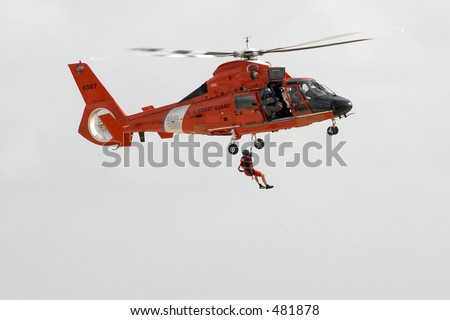 Coast guard rescue helicopter - stock photo