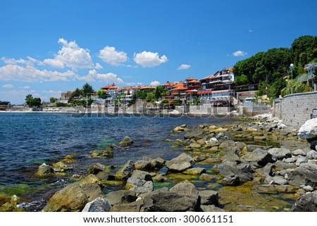 Coast in ancient city of Nessebar, Bulgaria - stock photo