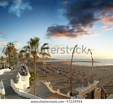 Coast in the tourist resort Playa de las Americas, Tenerife island, Canary Islands, Spain,