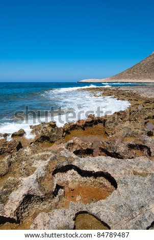 Coast line of beautiful crete at Stavros - stock photo