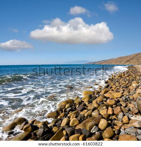 Coast line of sea in nice day - stock photo