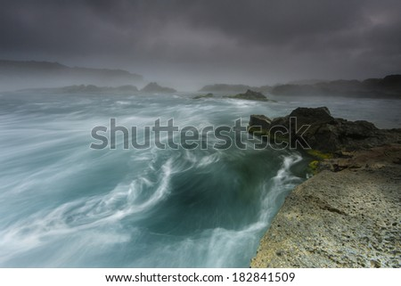 Coast line shot in south Iceland. / Whirlpool seascape - stock photo