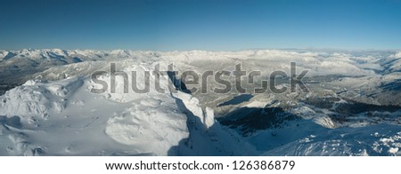 Coast Mountains, panoramic view from Whistler Peak, Canada - stock photo