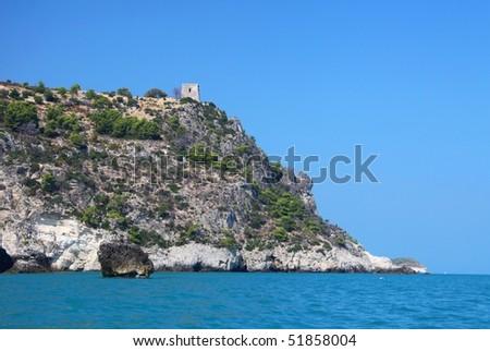 coast nearby Vieste, Gargano peninsula, Italy - stock photo