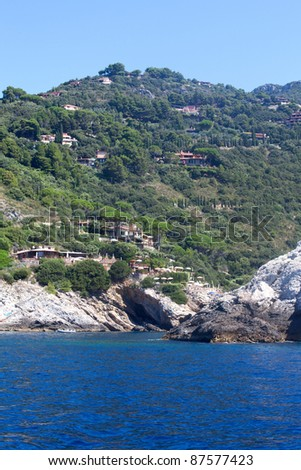 Coast of Argentario from the sea, Tuscany, Italy.