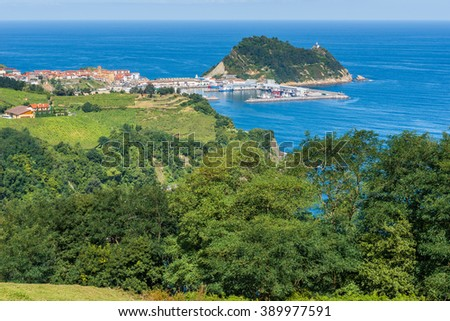 Coast of Basque Country, Getaria as background (Spain)  - stock photo