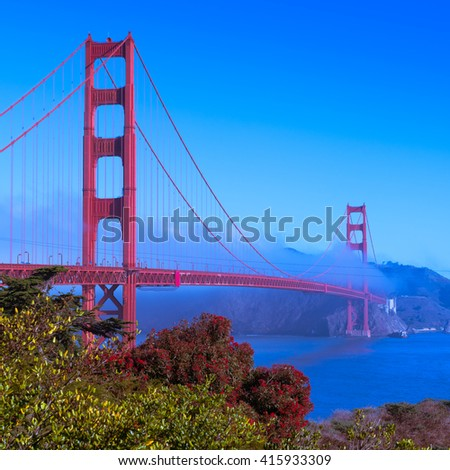 Coast of California, San Francisco. Panorama of Golden Gate Bridge. Toning
