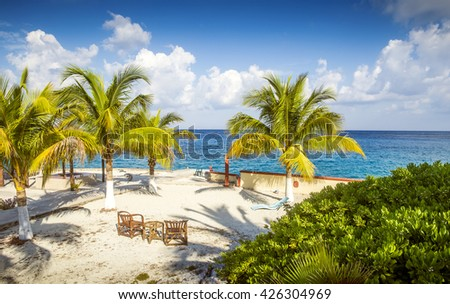 Coast of Cozumel island, Mexico - stock photo