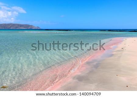 Coast of Crete island in Greece. Pink sand beach of famous Elafonisi (or Elafonissi). - stock photo