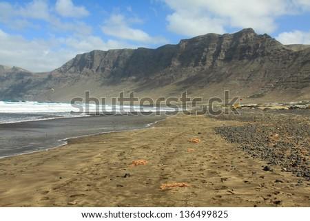 coast of Famara, Lanzarote, Canary Islands, Spain - stock photo