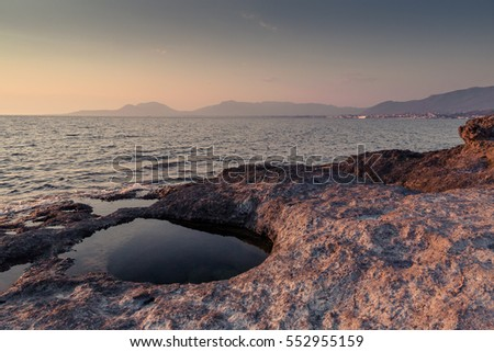 Coast of Greece at sunset