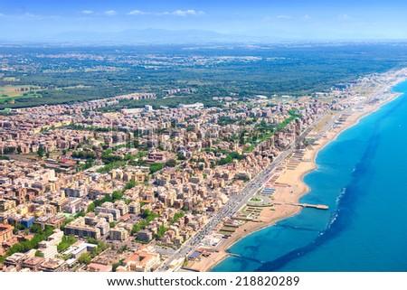 Coast of Italy. Aerial view - stock photo