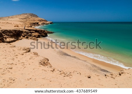 Coast of La Guajira peninsula in Colombia. Beach Playa del Pilon. - stock photo