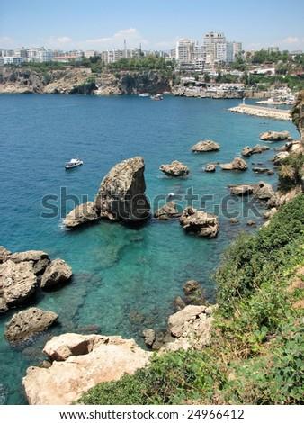 Coast of Mediterranean sea in Antalya, Turkey - stock photo