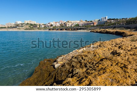 Coast of Tarragona in sunny spring day. Catalonia, Spain