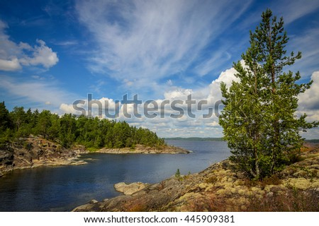 coast of the huge lake in summer day - stock photo