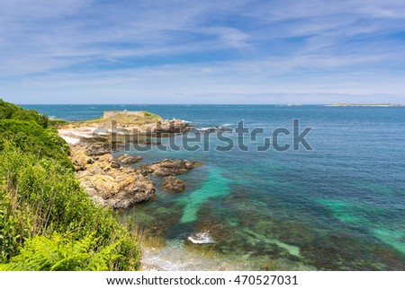 Coast of the Island of Guernsey, Channel Islands, UK