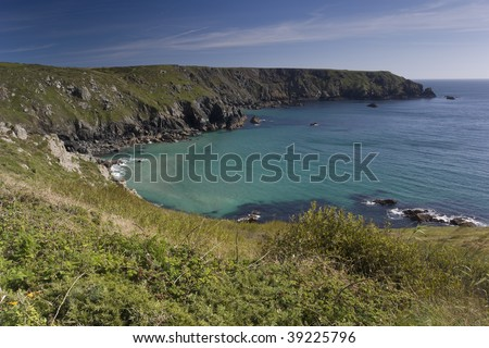 Coast of the Lizard peninsula in Cornwall England