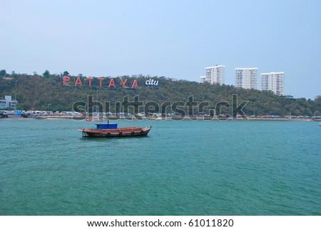 "Coast of the Pattaya beach in Thailand. billboard ""PATTAYA CITY"" in coast. - stock photo"