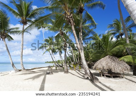 Coast of the tropical island. Beautiful vacation spot, suntan, restoration of forces, bathing and aquatics. - stock photo