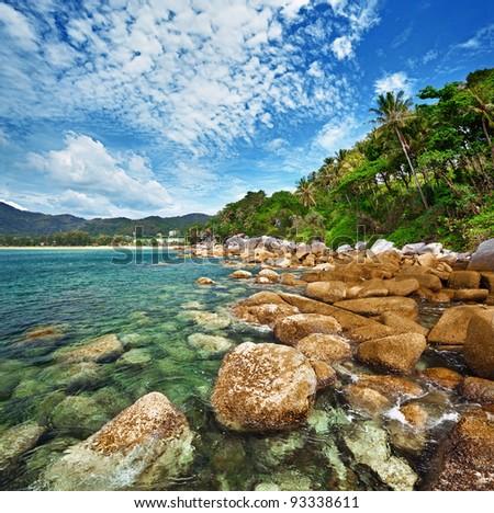 Coast of the tropical ocean - Thailand - stock photo