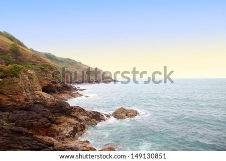 coast on the island of jersey, united kingdom - stock photo