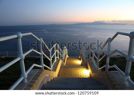 Coast right after sunset. Europa Point, Gibraltar - stock photo