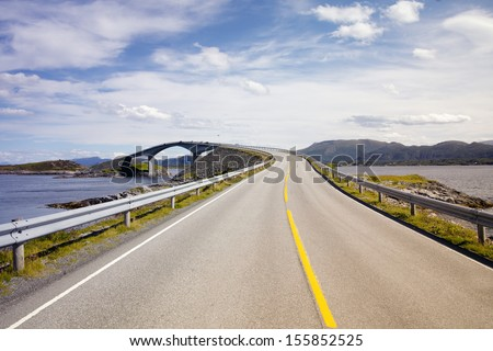 Coast Road The Atlantic Road is one of the most spectacular coastal roads of Norway. 8-kilometre long stretch of road between the towns of Kristiansund and Molde.  - stock photo