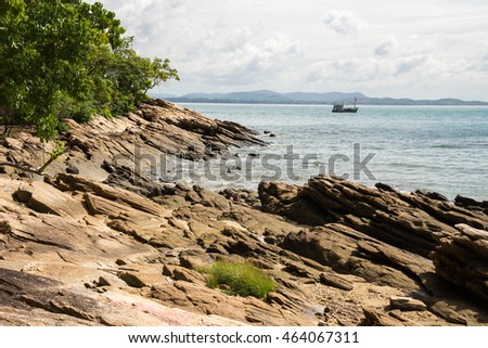 Coast rock stone texture background, Koh Samet - Khao Laem Ya National Park, Rayong, Gulf of Thailand