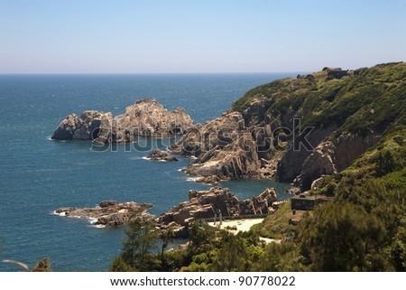 Coast - rocky shore - stock photo