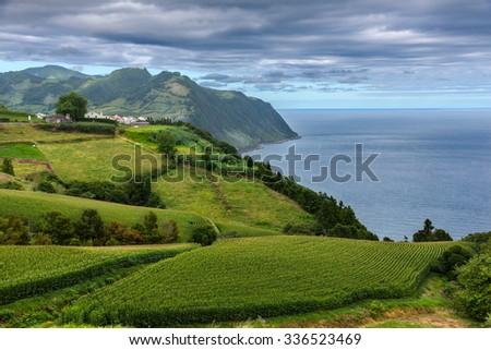 Coast view over Povoacao in Sao Miguel, Azores Islands - stock photo