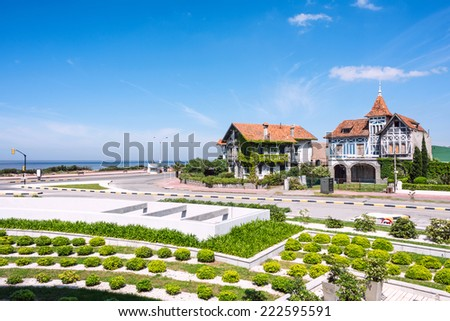 Coastal avenue of Montevideo named Rambla ore Avenida Alfredo Arocena in the Carrasco neighbourhood, Uruguay - stock photo