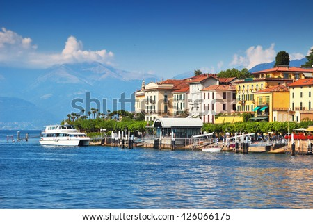 Coastal Bellagio city - popular touristic place at Como lake in summer, Italy. - stock photo